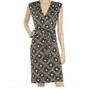 Tory Burch Wrap Dress Ivette Blk/Tan Silk Size XS